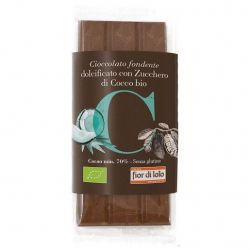 Ciocolata neagra bio indulcita cu zahar de cocos fara gluten 70% cacao x 50g Fior di Loto