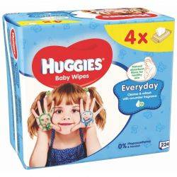Huggies Everday Quatro servetele umede pentru copii. 224 buc ( 4 x 56 buc)