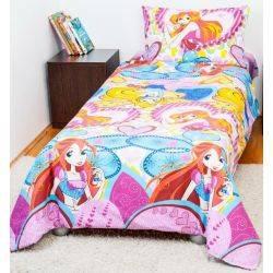 Bebedeco-Lenjerie pat copii 1 persoana-Printesele Winx