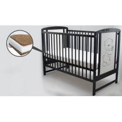 BabyNeeds Patut din lemn Timmi 120x60 cm Venghe + Saltea 10 cm