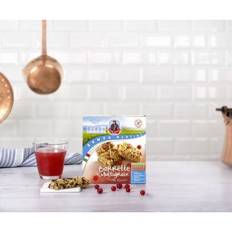 Baton fara gluten de cereale cu fructe rosii x 129g Molino Nicoli