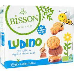 Bisson - Biscuiti inveliti in ciocolata cu lapte bio LUDINO x 160g