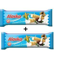 Oferta 1+1 Pufuleti de porumb umpluti cu crema de cocos x 18g Alaska