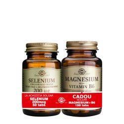 Pachet Selenium 200mcg 50tb + Magnesium cu B6 100tb GRATIS Solgar