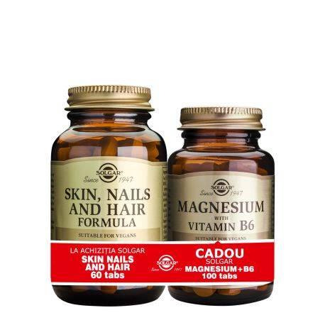 Pachet Skin Nails and Hair Formula 60tb + Magnesium cu B6 100tb GRATIS Solgar