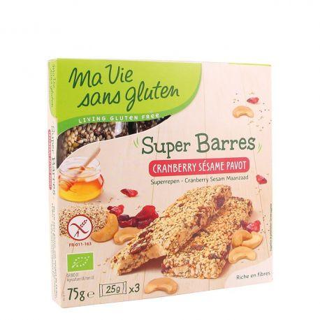 Batoane fara gluten cu merisoare, susan, mac x 75g Ma vie sans gluten