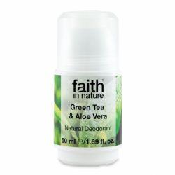 Deodorant roll-on natural cu ceai verde si aloe vera x 50ml Faith in Nature