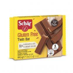 Twin Bar Napolitane invelite in ciocolata cu lapte, fara gluten x 64,5g Dr. Schar